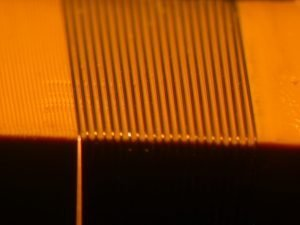 The wires in this micro-array were wound and adjusted using an apparatus invented by Precision MicroFab.